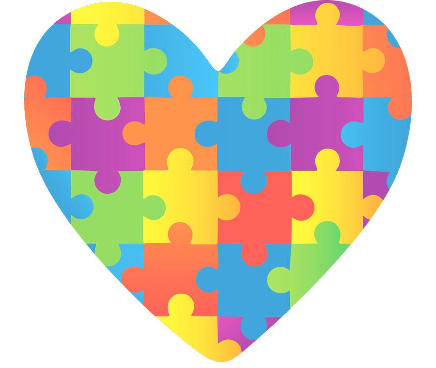 un cuore formato da tessere di puzzle